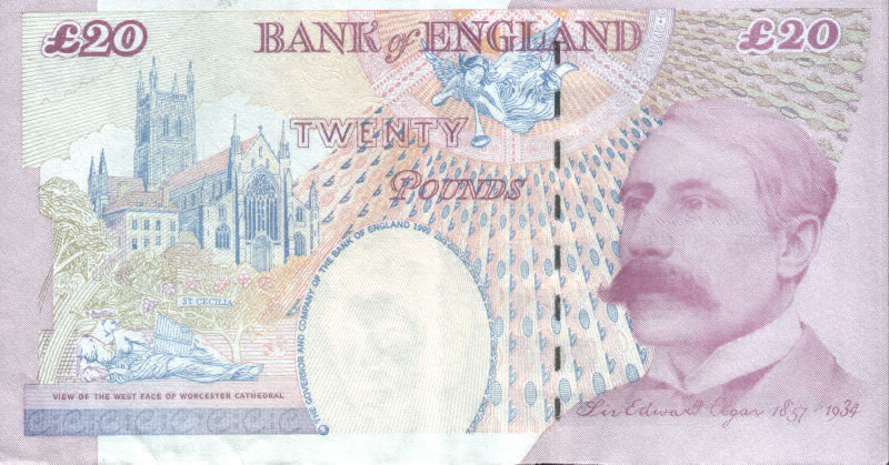 Old Twenty Pound Note rear with Edward Elgar